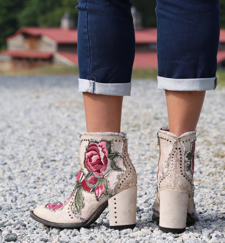 Old Gringo Carla Short Crackled Taupe Boots BL3184-3 Heel