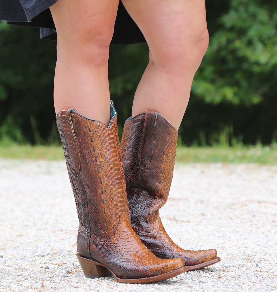 Corral Tan Full Python Woven Boots A3659 Image