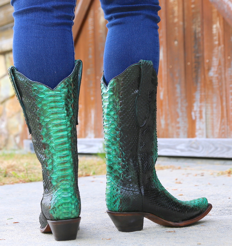 Corral Turquoise Full Python Woven Boots A3661 Heel