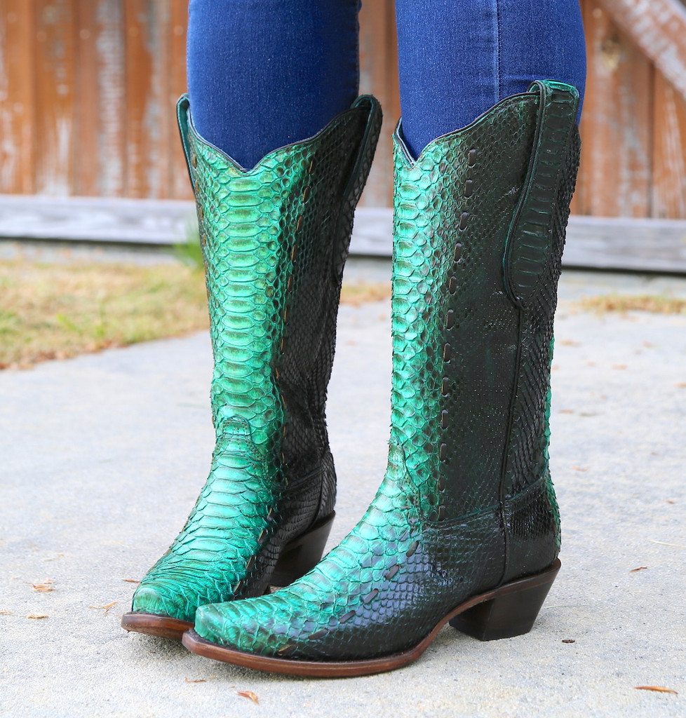 Corral Turquoise Full Python Woven Boots A3661 Front