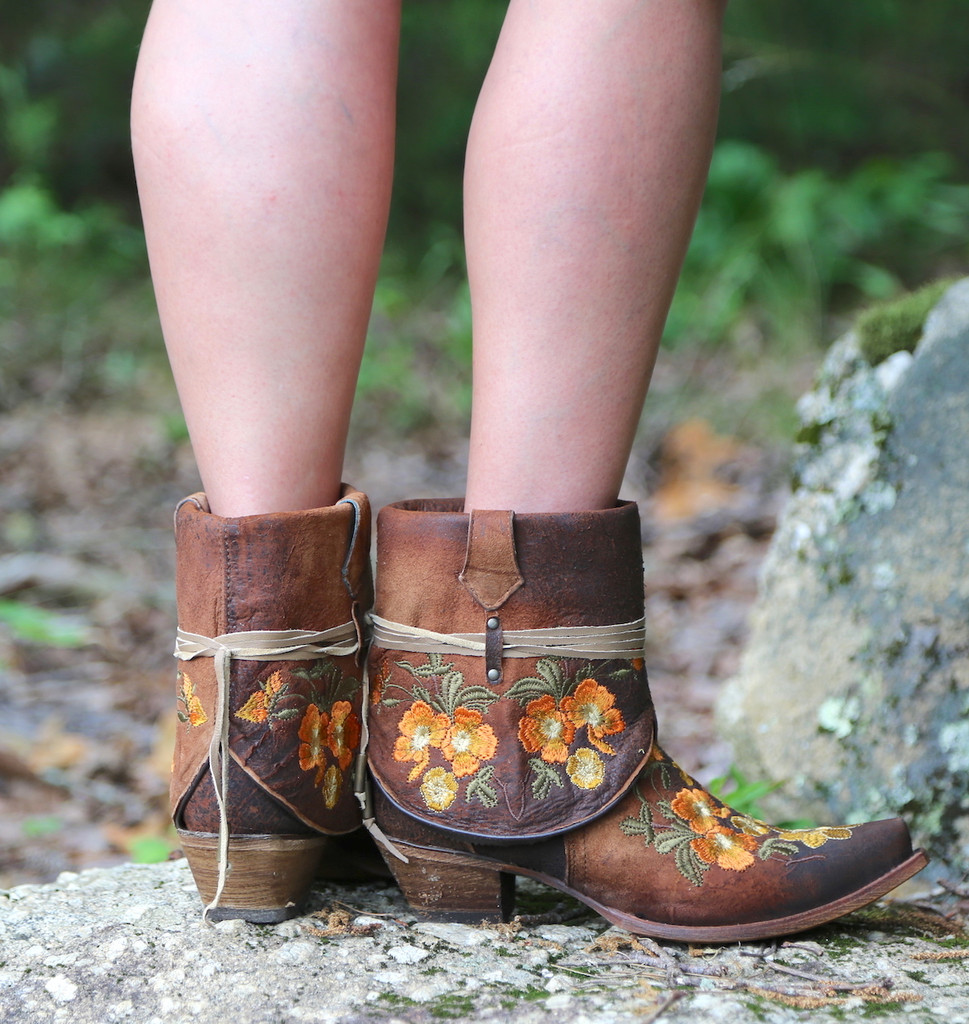 Corral Chocolate Lamb Embroidery Flipped Shaft Ankle Boot C3418 Heel