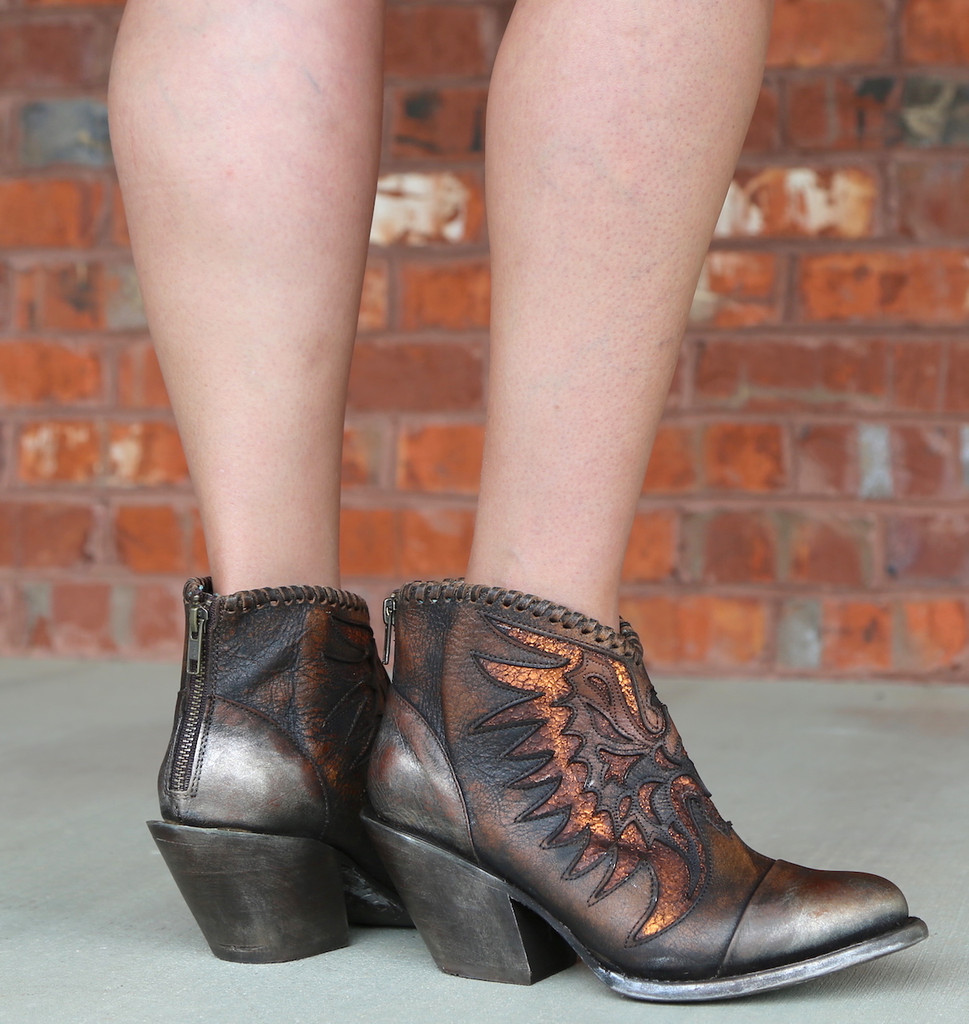 Corral Brown Eagle Woven Overlay Ankle Boot Z0031 Zipper
