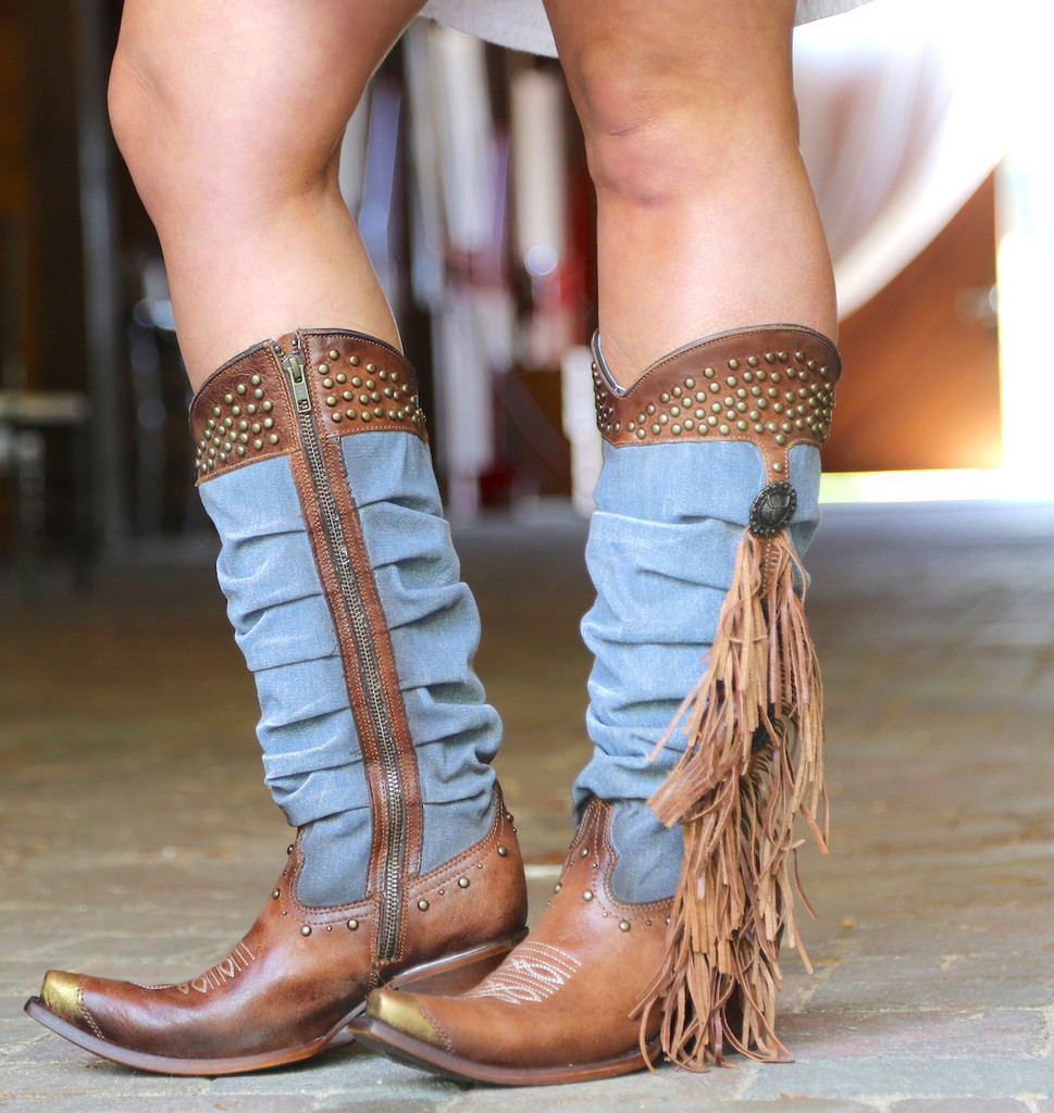 Corral Brown Denim Fringe Studs Tall Top Boots C3550 Photo