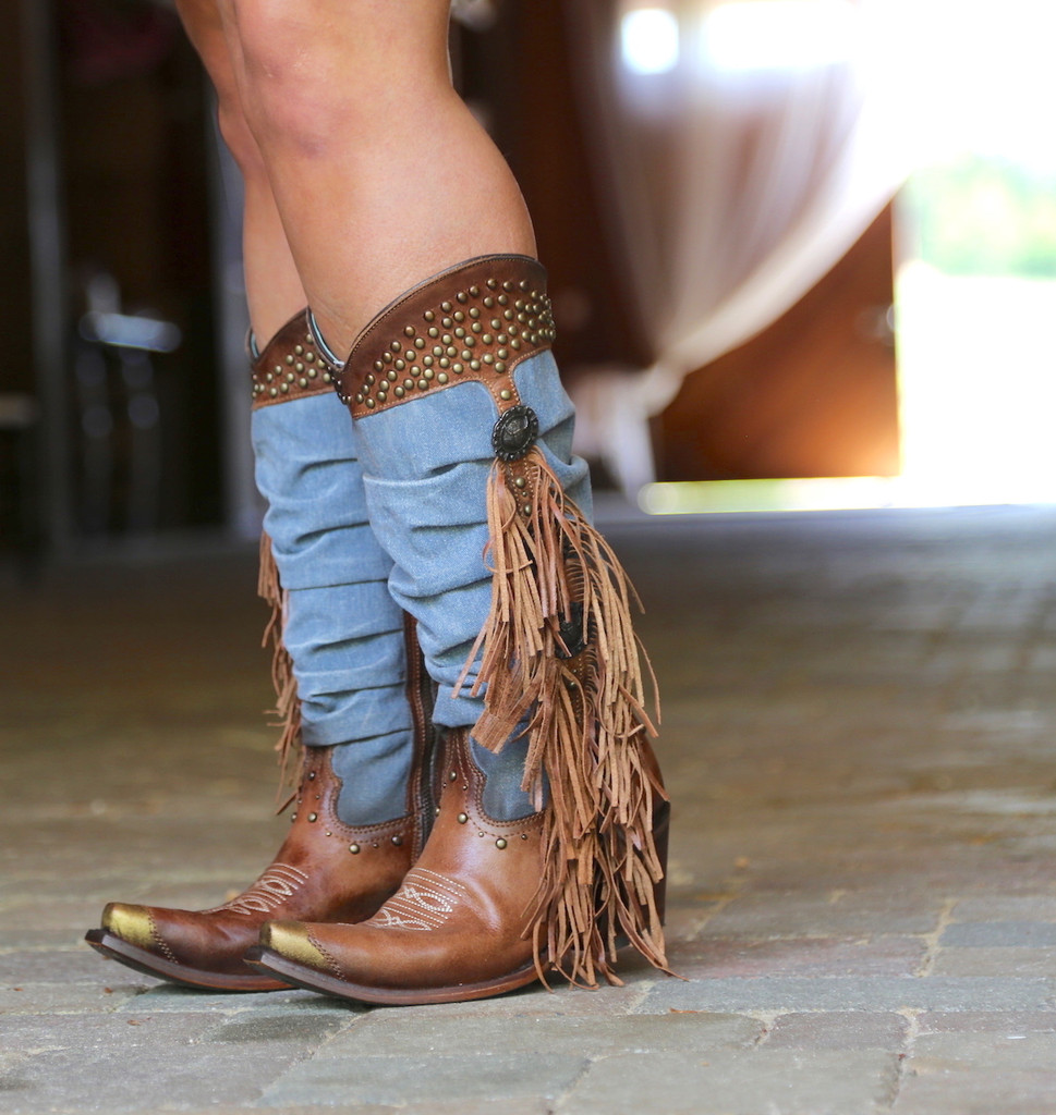 Corral Brown Denim Fringe Studs Tall Top Boots C3550 Picture