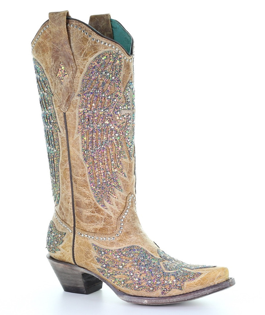 Corral Sand Wing and Cross Sparkle Boots A3742 Manufacturer Image