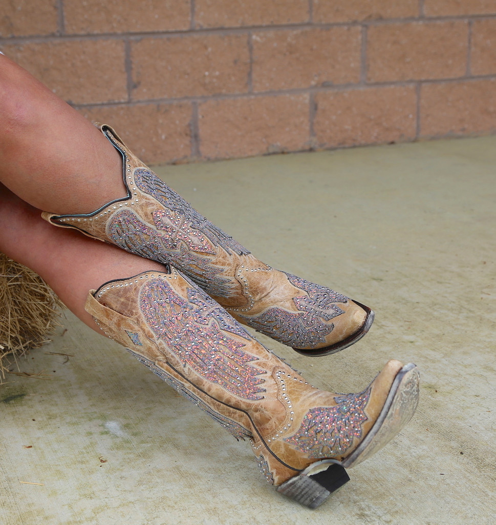 Corral Sand Wing and Cross Sparkle Boots A3742 Image