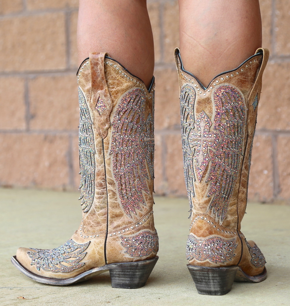 Corral Sand Wing and Cross Sparkle Boots A3742 Heel