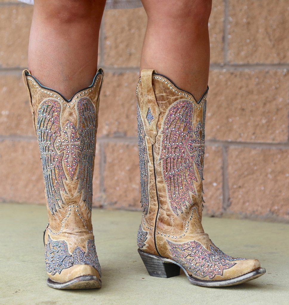 Corral Sand Wing and Cross Sparkle Boots A3742 Picture