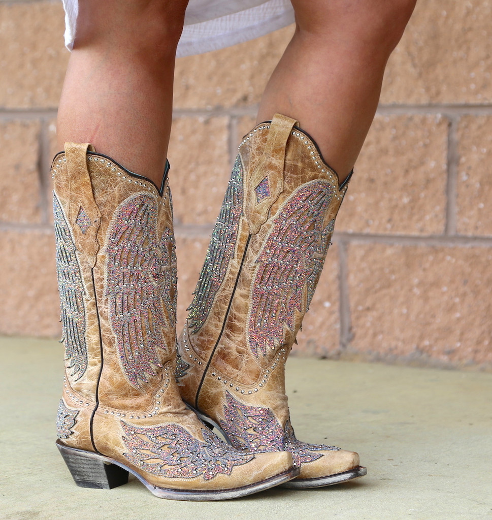 Corral Sand Wing and Cross Sparkle Boots A3742 Photo