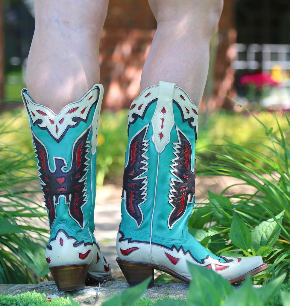 Corral Turquoise Eagle Retro Cowgirl Boot A3779 Heel
