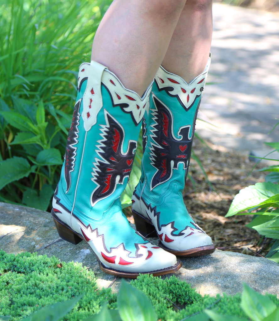 Corral Turquoise Eagle Retro Cowgirl Boot A3779 Picture