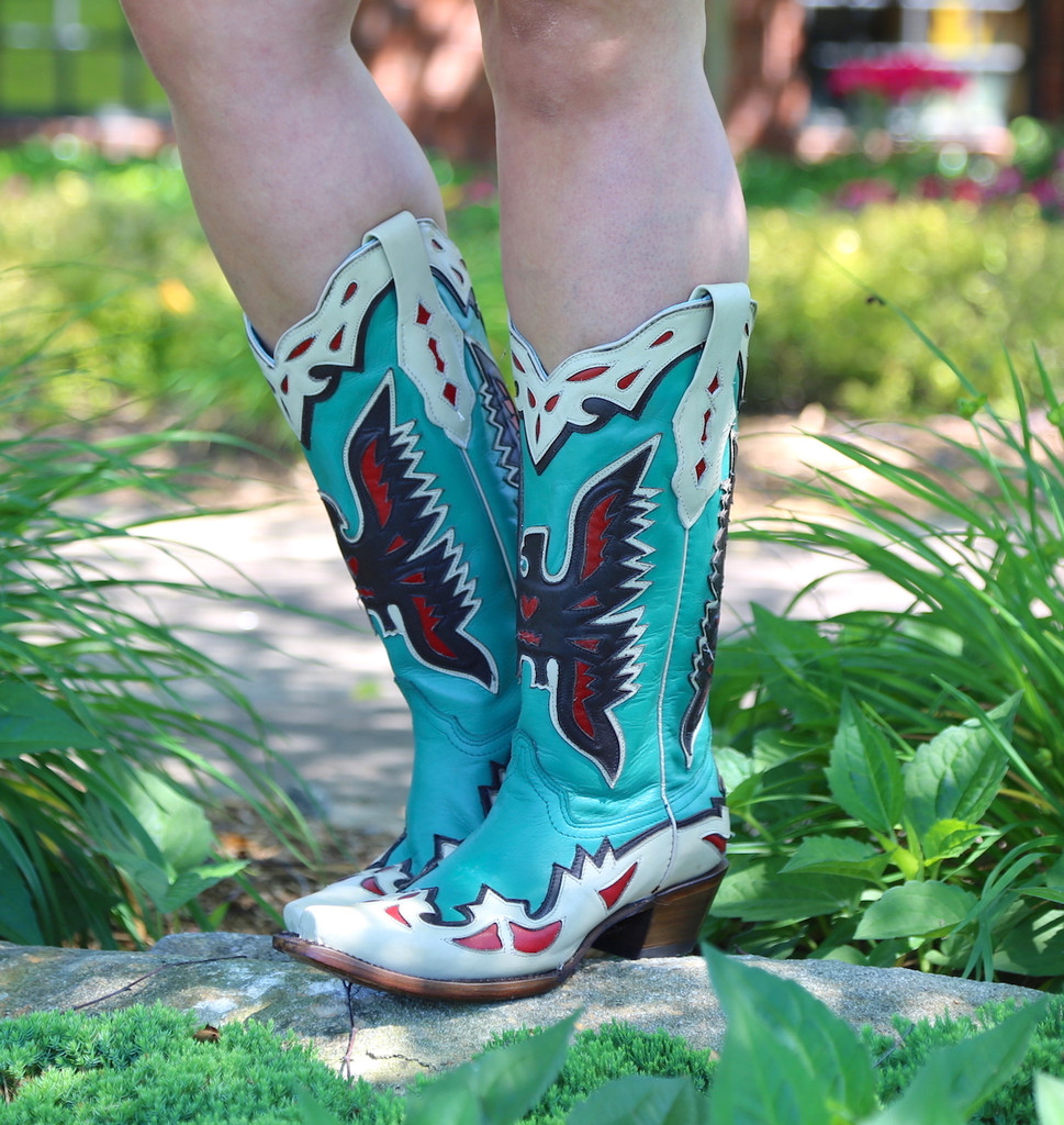 Corral Turquoise Eagle Retro Cowgirl Boot A3779 Image
