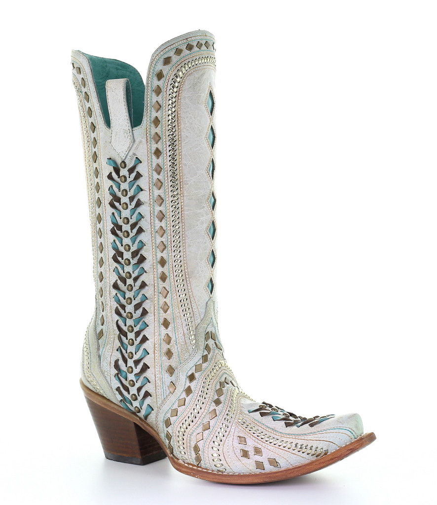Corral White Inlay Turquoise Gold Embroidery Woven Boots C3542