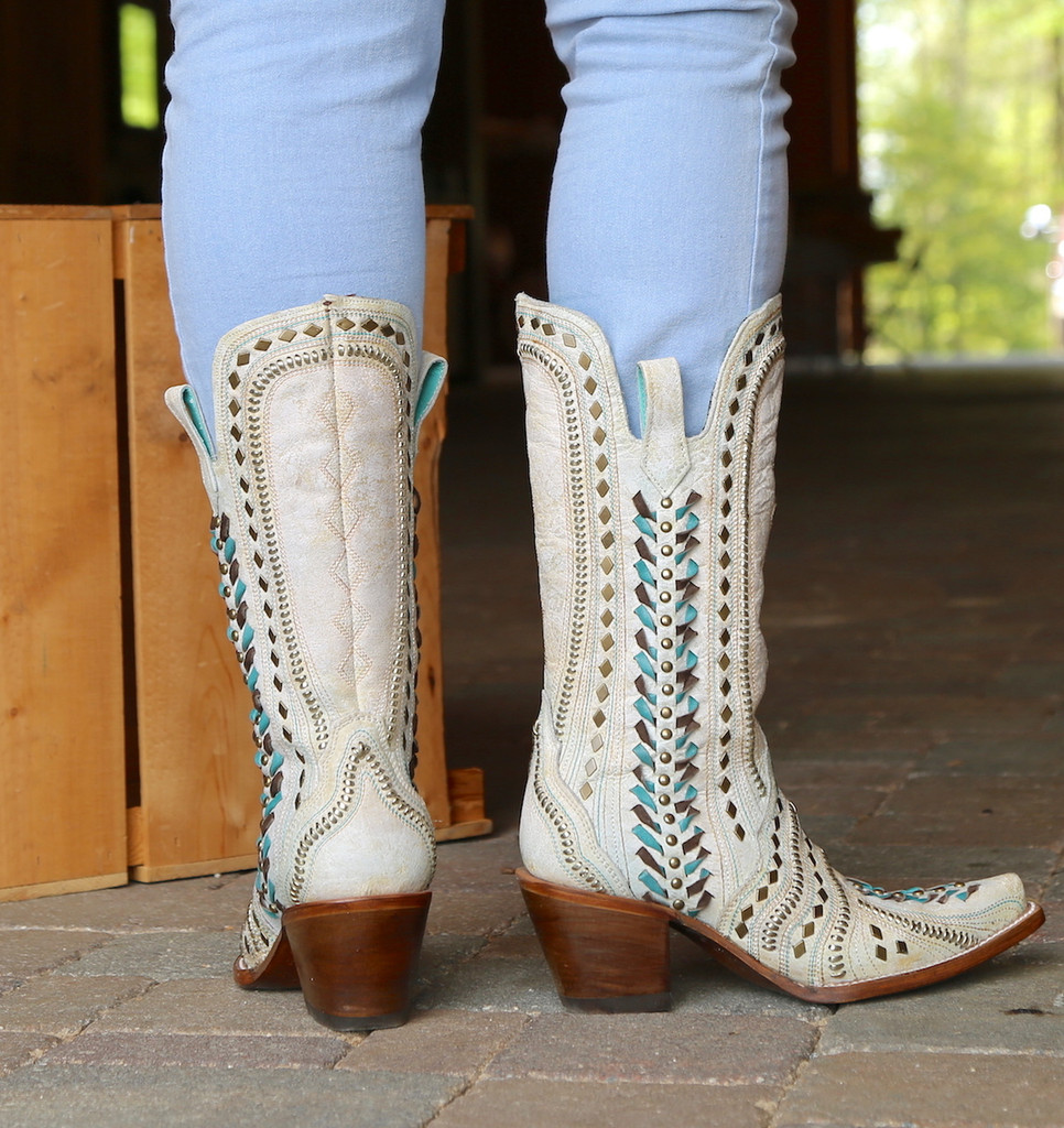 Corral White Inlay Turquoise Gold Embroidery Woven Boots C3542 Heel