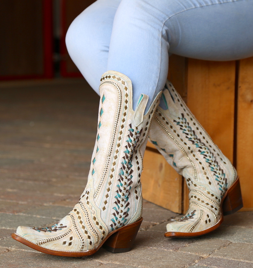 Corral White Inlay Turquoise Gold Embroidery Woven Boots C3542 Photo