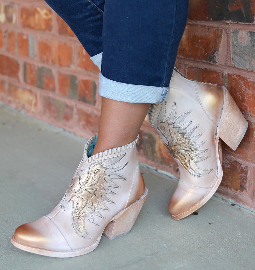 Corral Pink Eagle Inlay Ankle Boot Z0082 Picture