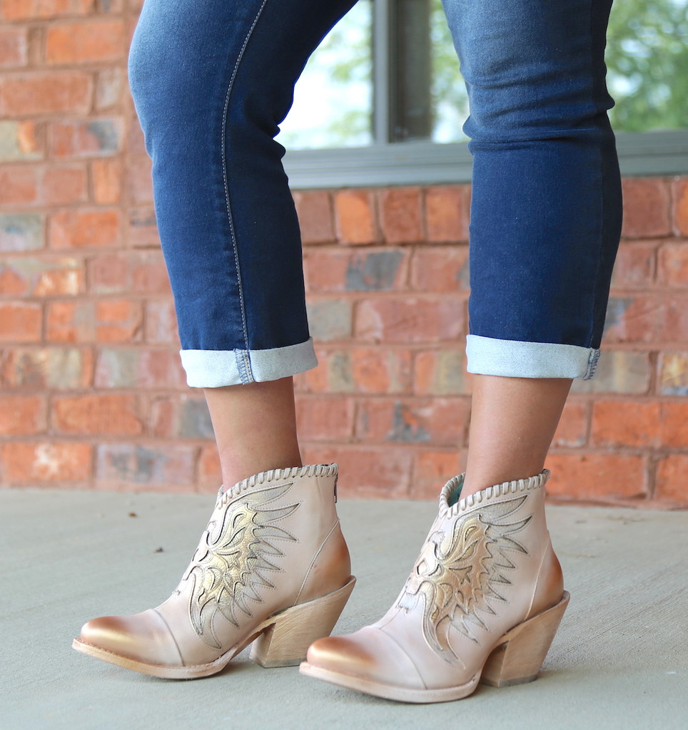 Corral Pink Eagle Inlay Ankle Boot Z0082  Heel