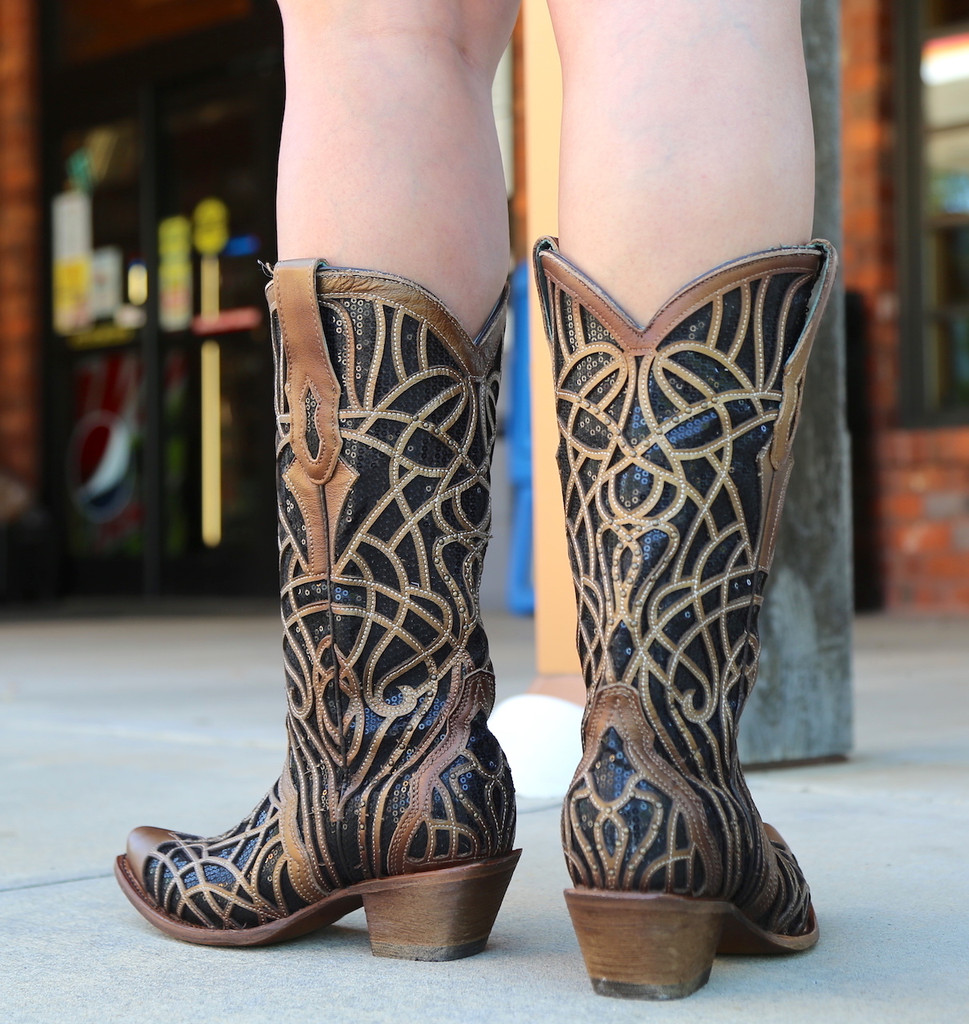 Corral Gold Black Glitter Inlay and Studs C3513 Heel