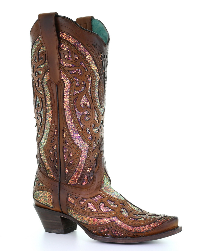 Corral Honey Glitter Overlay and Studs Boots E1525 Picture