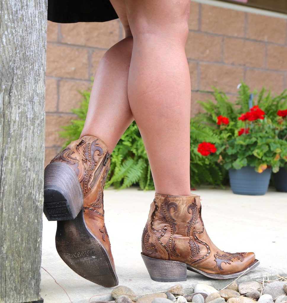 Corral Tan Studs and Overlay Ankle Boot G1382 Image