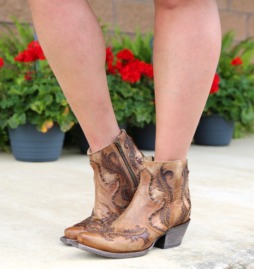 Corral Tan Studs and Overlay Ankle Boot G1382 Picture