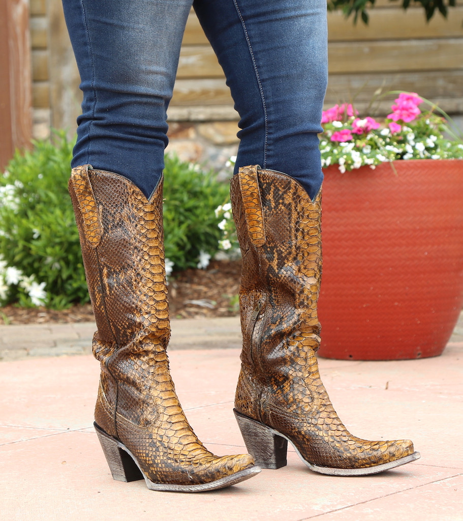 Corral Tan Full Python Zipper Tall Top Boots A3667 Image