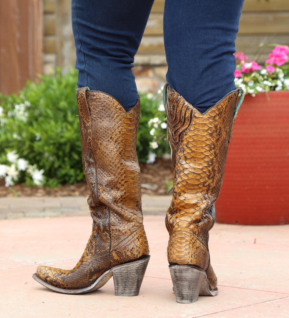 Corral Tan Full Python Zipper Tall Top Boots A3667 Heel