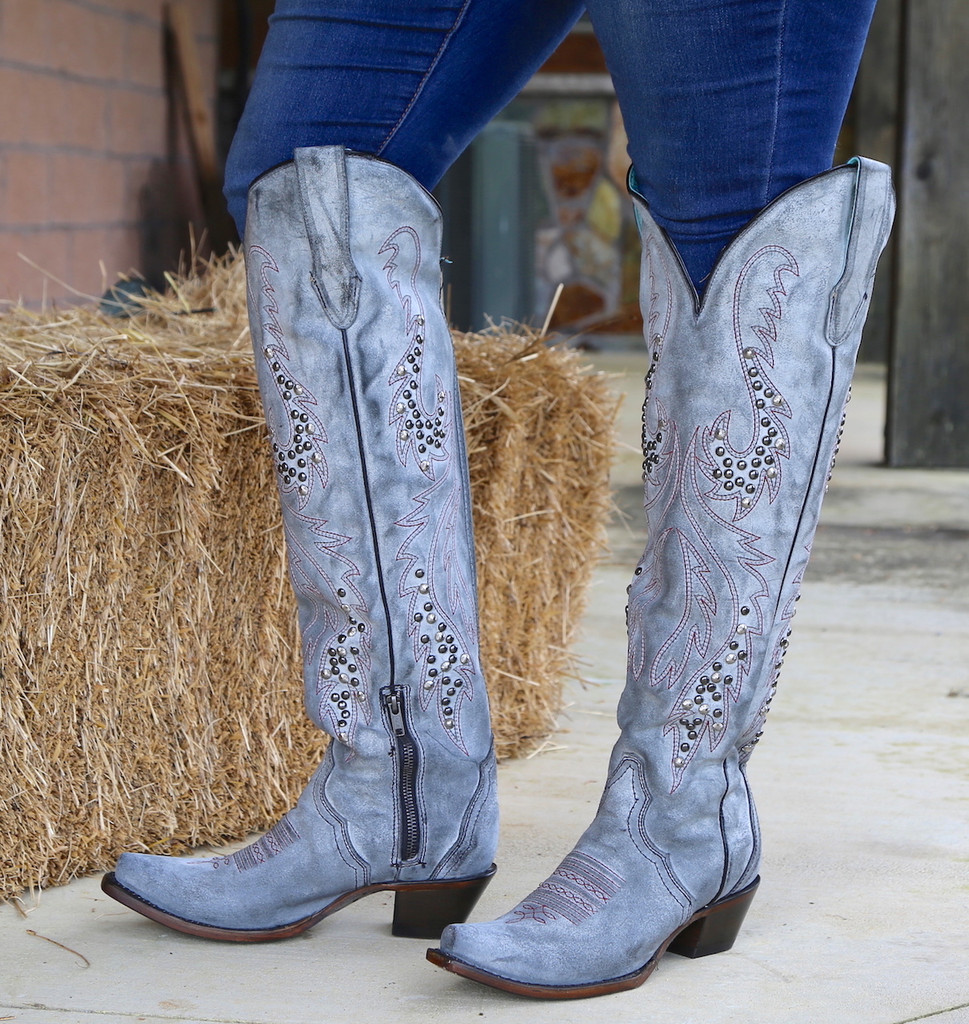 Corral Grey Embroidery and Studs Tall Top Boots C3544 Photo