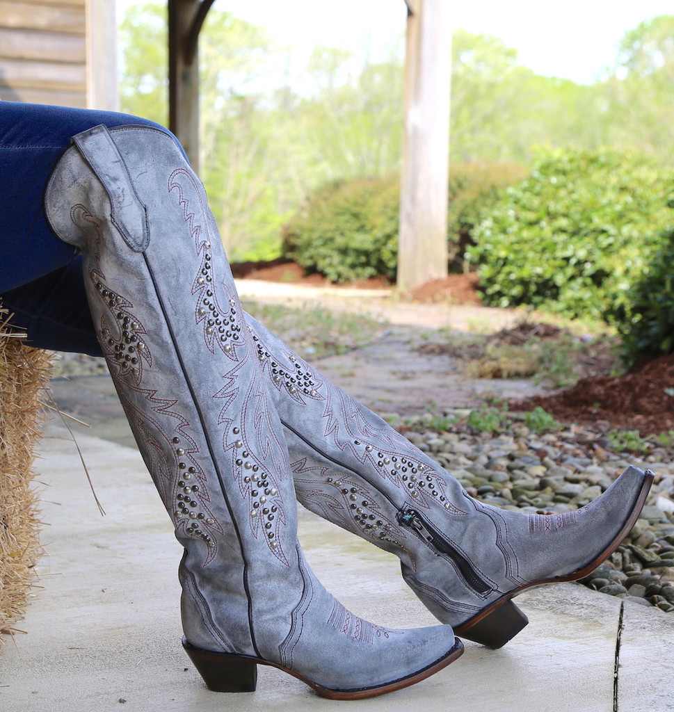 Corral Grey Embroidery and Studs Tall Top Boots C3544 Side