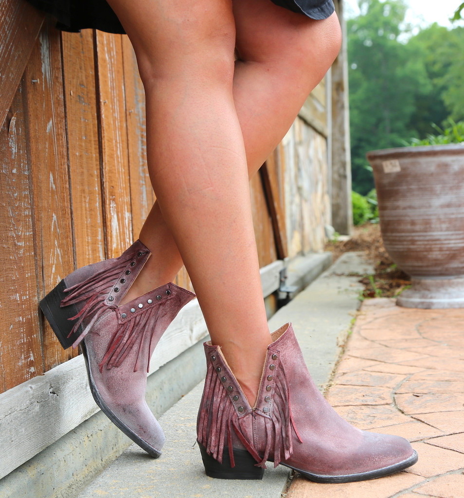 Corral Wine Studs and Fringe Bootie Q5092 Image
