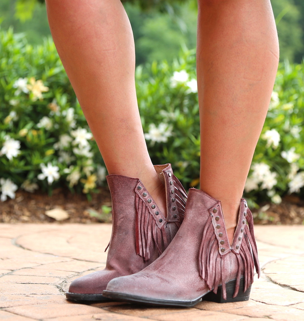 Corral Wine Studs and Fringe Bootie Q5092 Photo