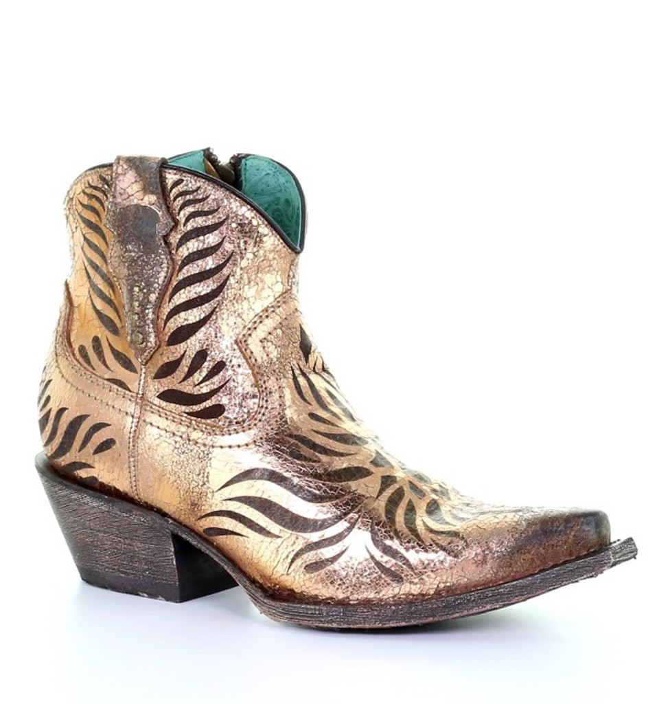 Corral Gold Laser Engraved Ankle Boot G1481 Picture