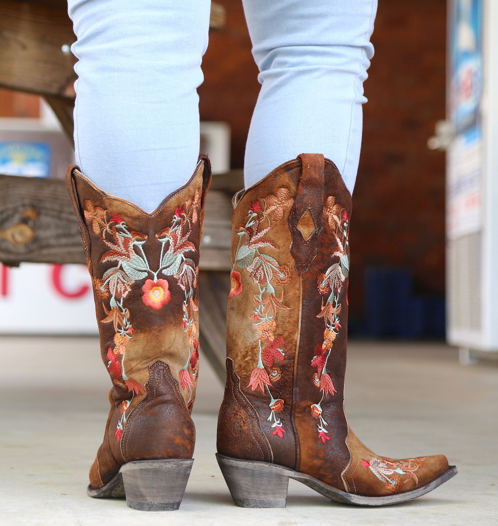 Corral Chocolate Lamb Floral Embroidery Boots A3597 Heel