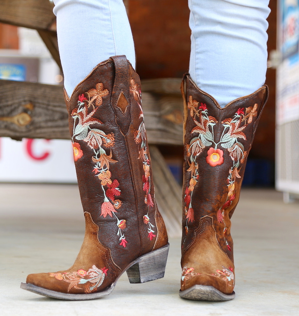 Corral Chocolate Lamb Floral Embroidery Boots A3597 Front