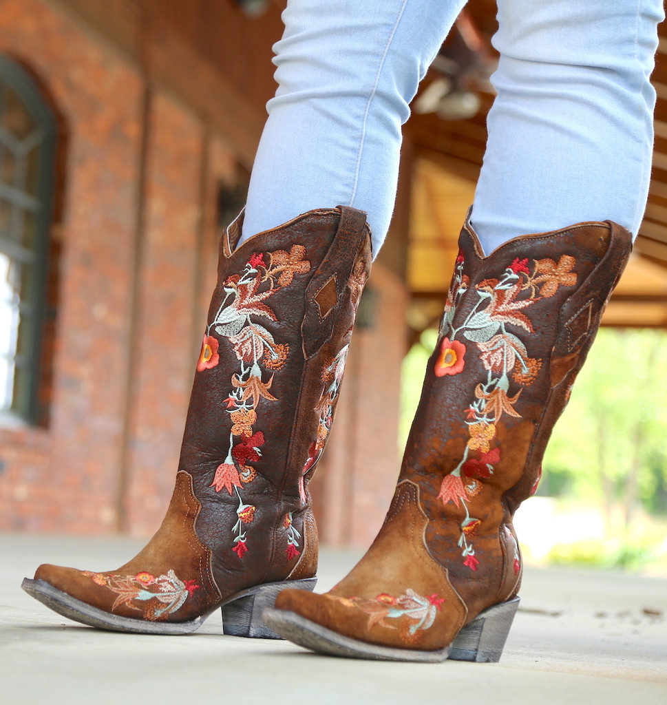 Corral Chocolate Lamb Floral Embroidery Boots A3597 Image