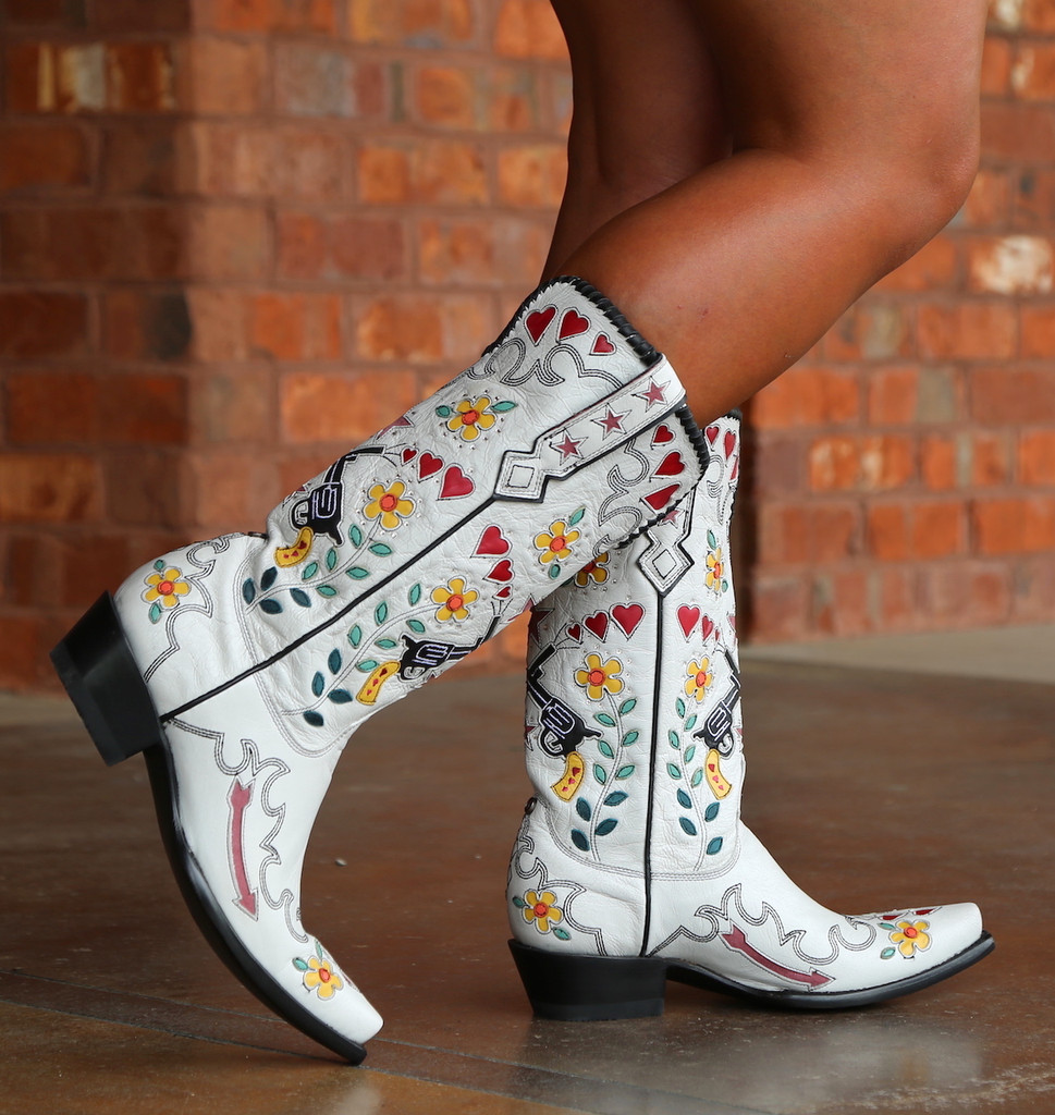 Double D by Old Gringo Cowgirl Bandit White Boots DDL041-2 Walk