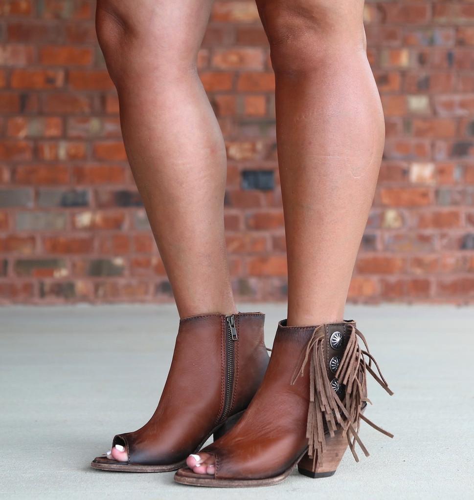 Liberty Black Delano Cotto Concho Fringe Peep Toe Boots LB712807 Picture