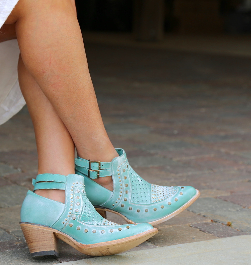Corral Turquoise Studs and Woven Mule E1403 Photo