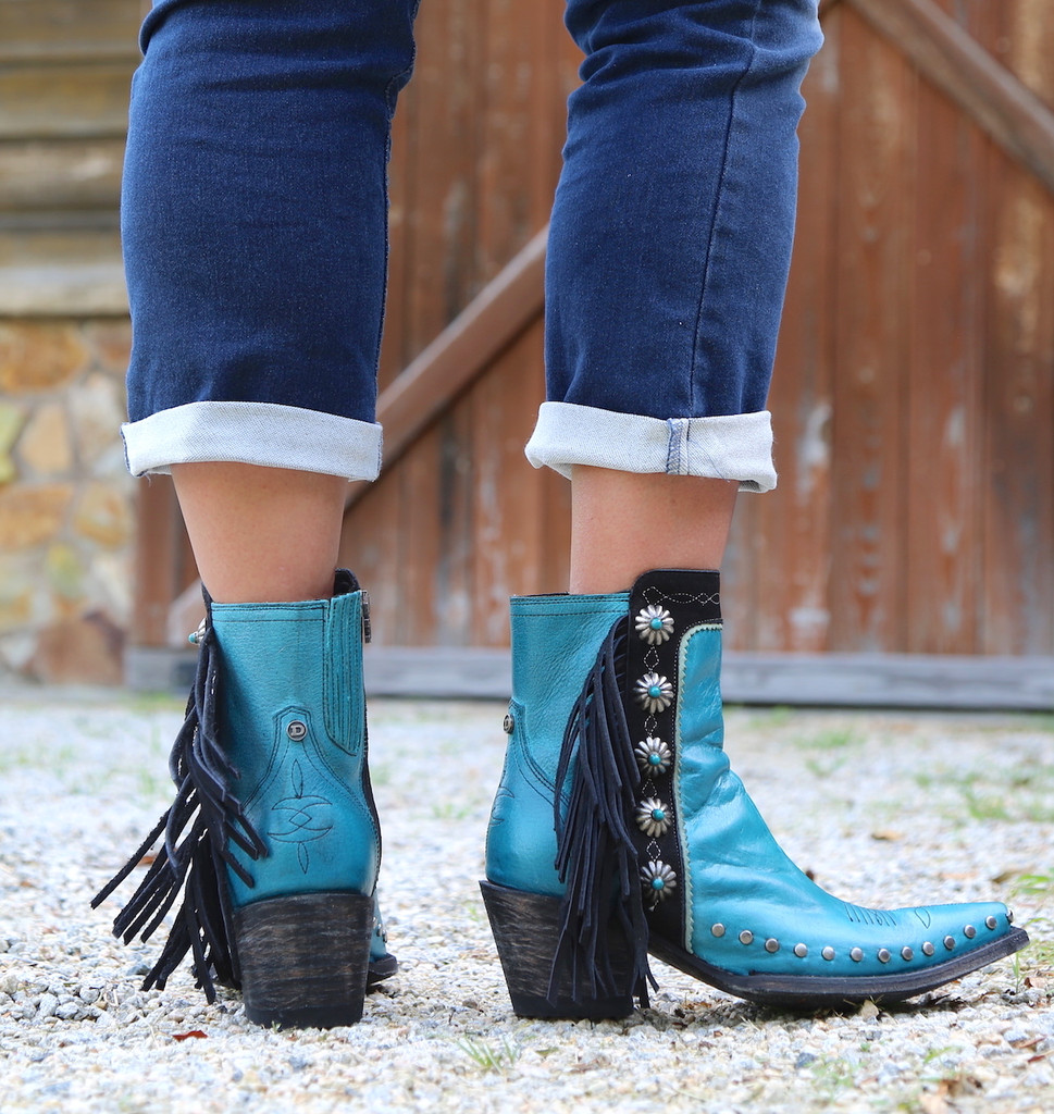 Double D by Old Gringo Apache Kid Turquoise Boots DDBL018-3 Heel