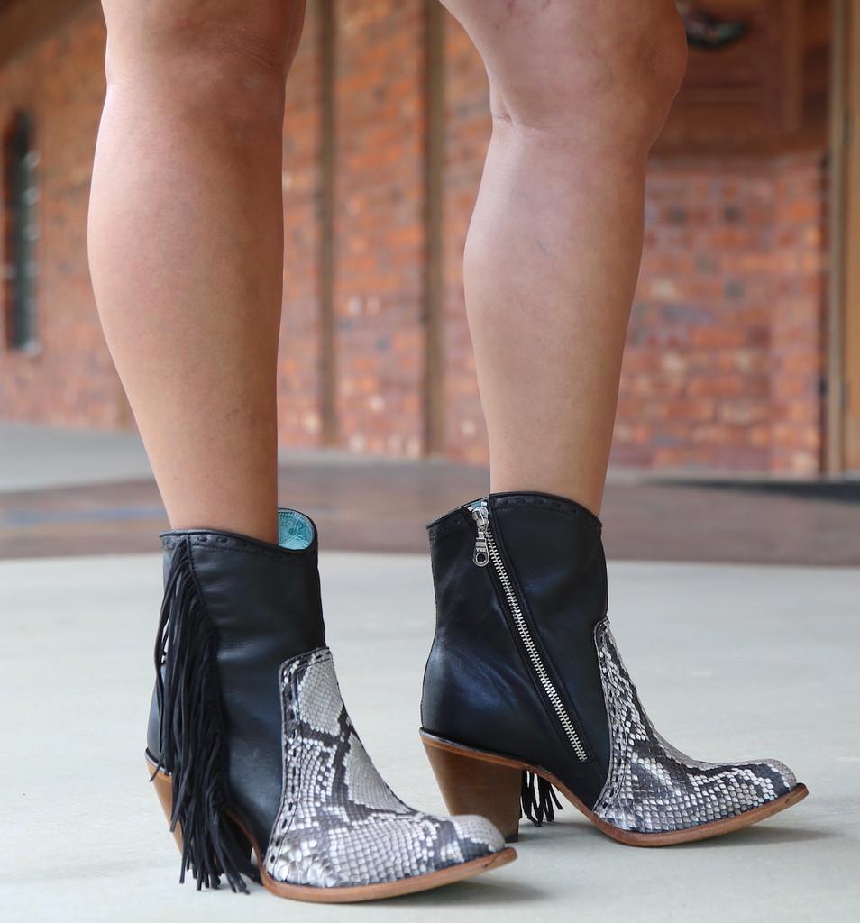 Corral Black Natural Python Fringe Ankle Boot C2909 Picture