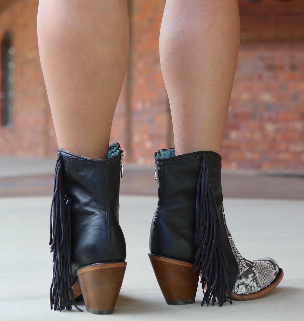 Corral Black Natural Python Fringe Ankle Boot C2909 Heel