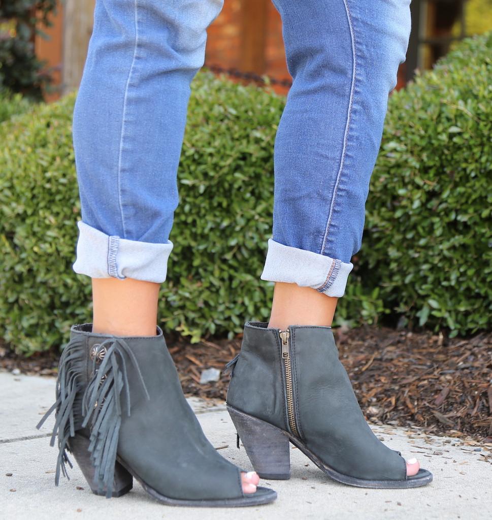 Liberty Black Negro Concho Fringe Peep Toe Boots LB712807 Photo
