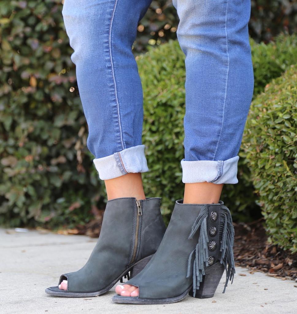 Liberty Black Negro Concho Fringe Peep Toe Boots LB712807 Picture