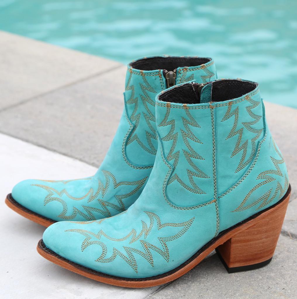 Liberty Black Katherine Boots Nobuck Grease Turqueza LB712313 Picture