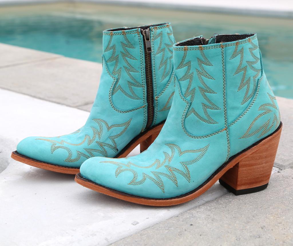 Liberty Black Katherine Boots Nobuck Grease Turqueza LB712313 Photo