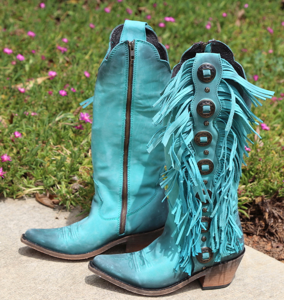 liberty black turquoise boots