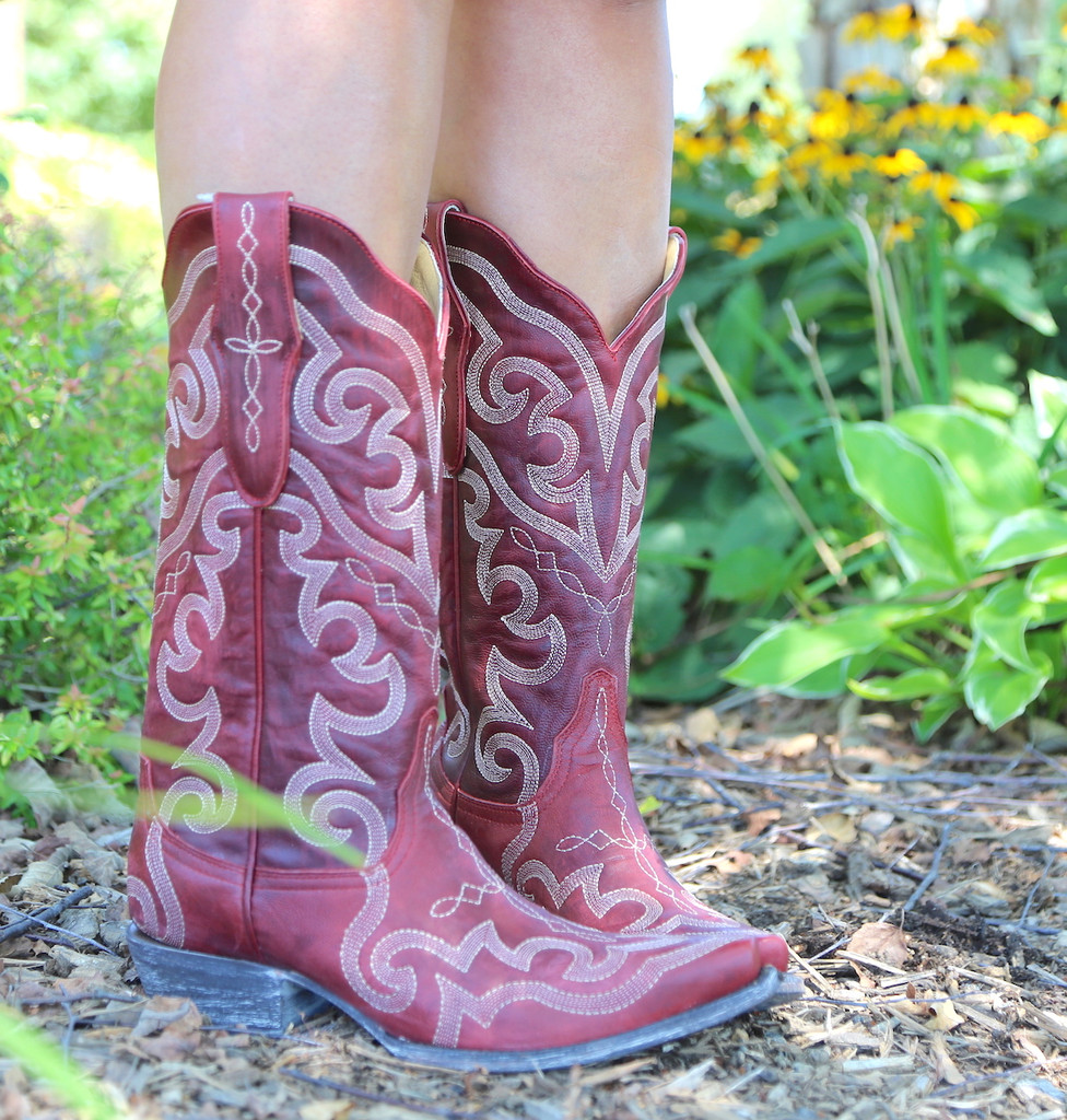 Yippee by Old Gringo Vittoria Red Boots YL277-7 Detail