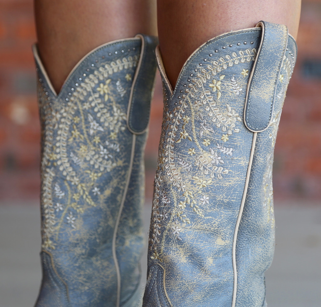 Yippee by Old Gringo Anya Crackled Grey Boots YL344-3 Detail