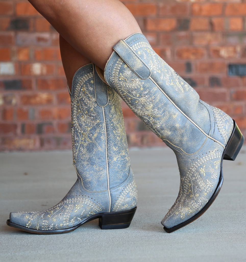 Yippee by Old Gringo Anya Crackled Grey Boots YL344-3 Image