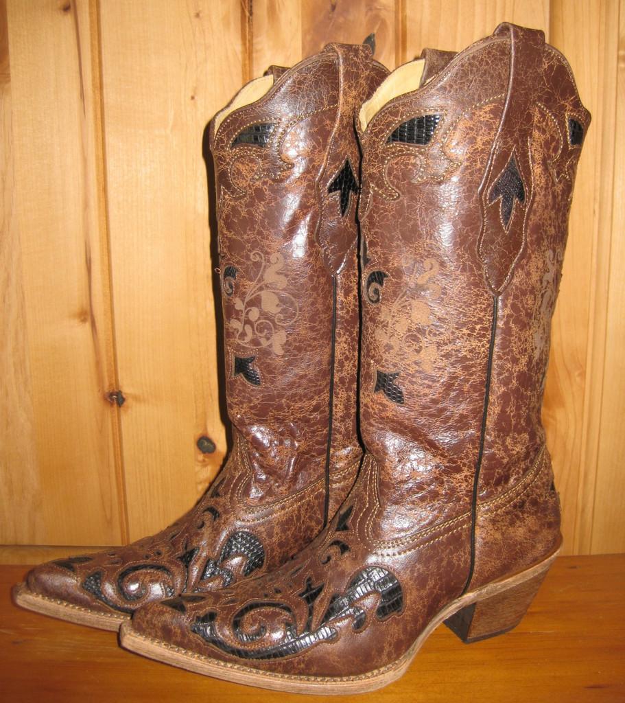 Corral Black Chocolate Lizard Overlay Boots